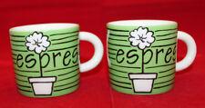 Cathay Pacific Airways Airline Porcelain 2 Espresso Coffee Mug Cups Set Green