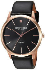 Kenneth Cole New York Men's Diamond Quartz S. Steel Black Leather Watch 10031278