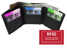 Black RFID BLOCKING LEATHER BLACK ID MEN's WINDOW CARD TRIFOLD WALLET 10 Slots