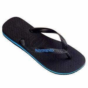 HAVAIANAS  Rubber Logo Black / Blue MALE Thongs Sandals Male Flip Flops