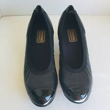 Munro American Sz 9.5 ODETTE Pump Black Leather Patent Cap Toe  Heel Shoe /z18