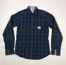 FRANKLIN & MARSHALL Checked Shirt Long Sleeves Blue & Green Sz Small Slim Mens