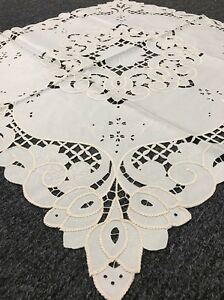 """Beige Ivory Embroidered Cotton Polyester 42x42"""" Embroidery Cutwork Tablecloth"""