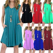 Women Summer Sleeveless T Shirt Casual V Neck Pockets Solid Size Plus Tank Dress
