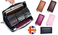 Large Capacity Leather RFID Blocking 36 Slot Card Holder Purse Wallet with Zip