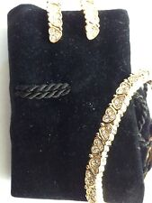 Swarovski Heart Earrings and Bracelet Set Signed - BEAUTIFUL! - New