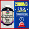 3 pk BLACK ELDERBERRY EXTRACT =600 Caps 2000mg Immune System Sambucus Herbal USA