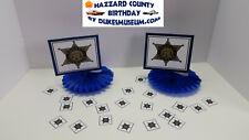 DUKES OF HAZZARD-  HAZZARD COUNTY BIRTHDAY DECORATIONS- SHERIFF FANS CONFETTI