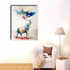 Watercolor Elephant Stretched Canvas Prints Wall Art Home Decor Framed Painting