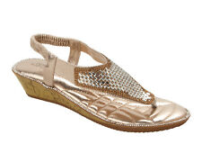WOMENS GOLD DIAMANTE TOE POST SUMMER HOLIDAY EVENING SANDALS LADIES SIZE 3-8