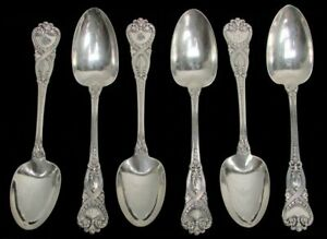 "TIFFANY & CO 4 SAINT JAMES (6) STERLING SILVER 7 1/4"" OVAL SOUP SPOONS"