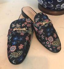 Gucci-Style Catherine Malandrino Geisha Slide Navy Blue Floral Embroidered Sz 6