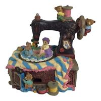 Vntg Classic Treasures Bears on the Sewing Machine Music Box Works
