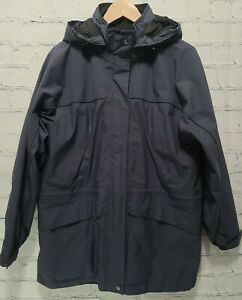 Vtg Eddie Bauer Gore-Tex Hooded Rain Coat Blue Waterproof Light Parka Medium A42