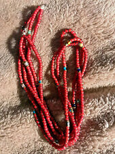 Vintage Venetian Red White Hearts, 3 Strands with Other Beads, Beautiful, Old