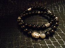 Spiritual Silver Buddha Black Onyx Labradorite Bracelet Set  Baby Chrome King