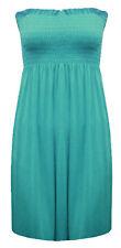 Womens Plus Size Beach Wear Stretch Gathering Bandeau Boob Tunic Tops 8-26