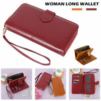 Womens Ladies Leather Wallet Long Zip Purse Card Holder Case Phone Handbag SHE