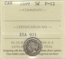 1889 Five Cents Silver ICCS Graded F-12 ** SCARCE Date Colorful KEY Victoria 5¢