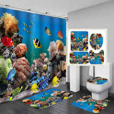 Sea Coral Reef Fish Shower Curtain Bath Mat Toilet Cover Rug Bathroom Decor