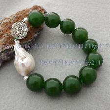 10mm Light Green Jade /& 9-10mm Genuine White Cultured Pearl Bracelet PB106