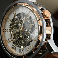 Mens Hand-winding Mechanical Watch Silver Case Rose Golden Leather Strap Luxury
