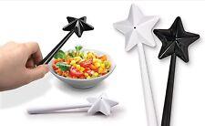 Black And White Star Shaped Salt + Magic Wand Salt And Pepper Shakers