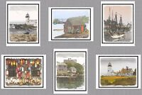 6 Assorted Maine Coast Blank Note Greeting Cards Lighthouse Boat Lobster Buoy