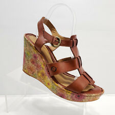 BORN Brown Leather Wedge Sandals Floral Heel Size 10