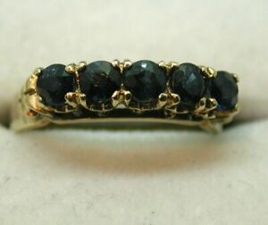 Lovely 9 carat Gold Five Stone Sapphire Ring Size J