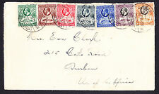 Gold Coast 1937 King George V KGV KG5 stamps on cover from Sekondi to USA Ghana