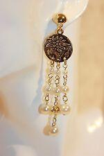 Ohrstecker NEU Ohrringe gold weiß Perlen lang Blumen trendy Edelweiß Modeschmuck