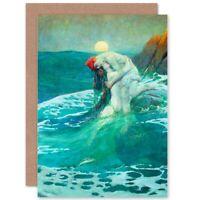 Birthday Painting Seascape Mermaid Painting Blank Greeting Card With Envelope