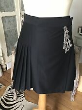 The Kooples Black Stretch Smoking Collection Pleated Wool Kilt Skirt RRP €198