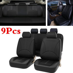 9PCS Luxury PU Leather Car Seat Cover Front/Rear For Autos Interior Accessories