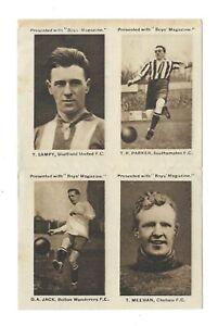 1923 - Boys Magazine - 4 Uncut Footballers - Sampy - Parker - Jack - Meehan