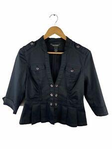 White House Black Market Women's Shirt Size 6 Black Military Long Sleeve V Neck