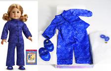 American Girl Doll Purple Satin Kimono SLEEPOVER PJ'S SET & SLIPPERS Pajamas BOX