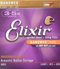 Elixir 12-53 Acoustic Phosphor Bronze guitar strings nanoweb 16052 box12 sets