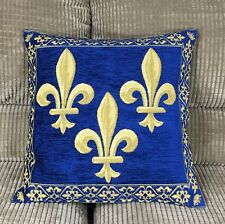 Fleur De Lys Pillow Cover Jacquard Woven Royal French Logo 18x18 Made In France
