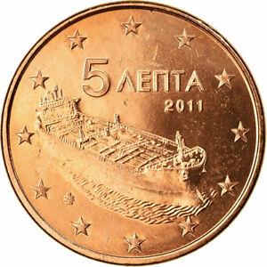 [#701711] Grèce, 5 Euro Cent, 2011, SPL, Copper Plated Steel, KM:183