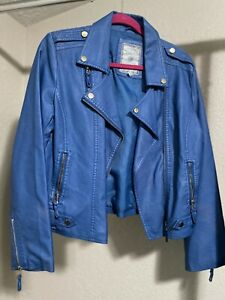 Paparazzi by BIZ Women Blue Leather Jacket L
