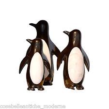 Skulptur Pinguine Marmor Schwarz Maya Weiß Schwarz-weiss Statuen 22cm