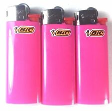 3 Pink Mini Bic Lighters - Small Size Solid Color Made in France