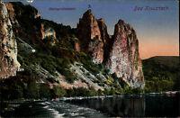 Bad Kreuznach Color Ansichtskarte ~1920 Blick über die Nahe zum Rheingrafenstein