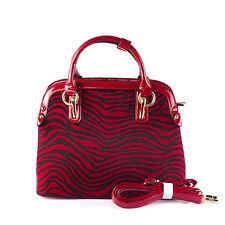 Ladies Designer Inspired Top Handle Black and Red Animal Print Patent Handbag