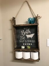 Handmade Rustic Bathroom Shelf With Vintage Chalkboard Sign Backing