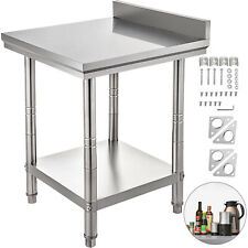 "Stainless Steel Work Table Kitchen Utility Work Bench Table 24""x24"" w/Backsplash"