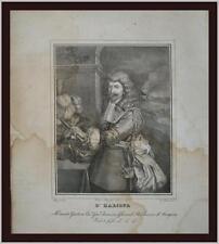 antica incisione 1827 Henri de Lorraine Conte d'Harcourt a Gherardi Piccolomini