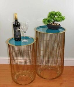 Set of 2 Decorative Wire Side Tables, Gold & Teal